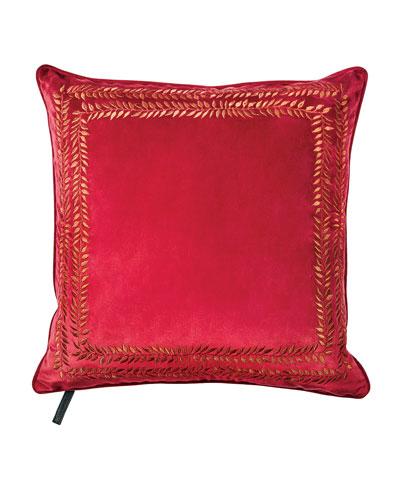 Valencia Embroidered Velvet Throw Pillow  Red