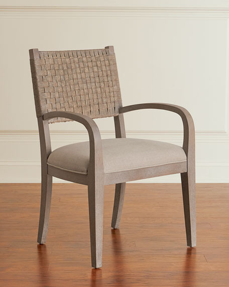 Pair of Mecate Woven-Back Dining Arm Chairs
