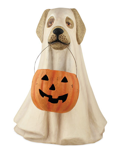 Ghost Dog Paper Mache Halloween Decor