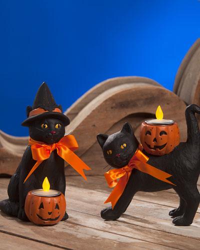 Black Cat Halloween Votive Candleholders, Set of Two