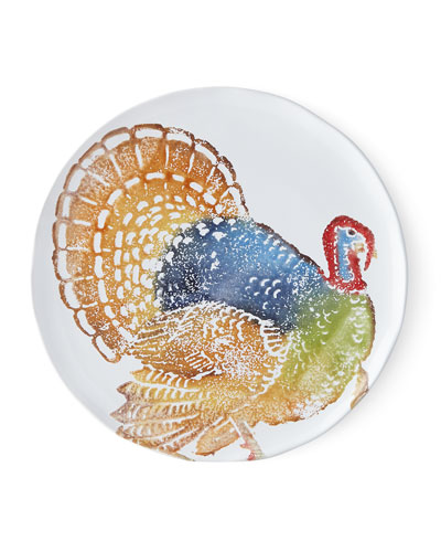 Gathered Thanksgiving Salad Plates with Hand-Painted Turkey, Set of 4