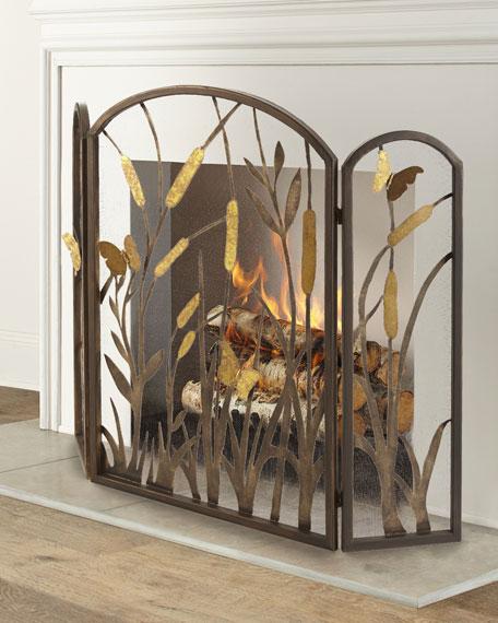 Butterfly & Cattail Fireplace Screen