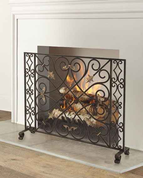 Gold Tole Accent Scroll Gate Fireplace Screen