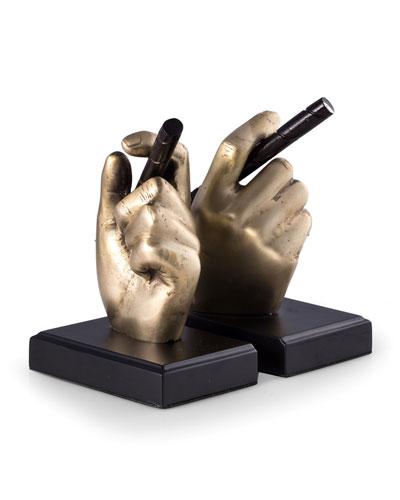 Hand Holding Cigar Brass Bookends