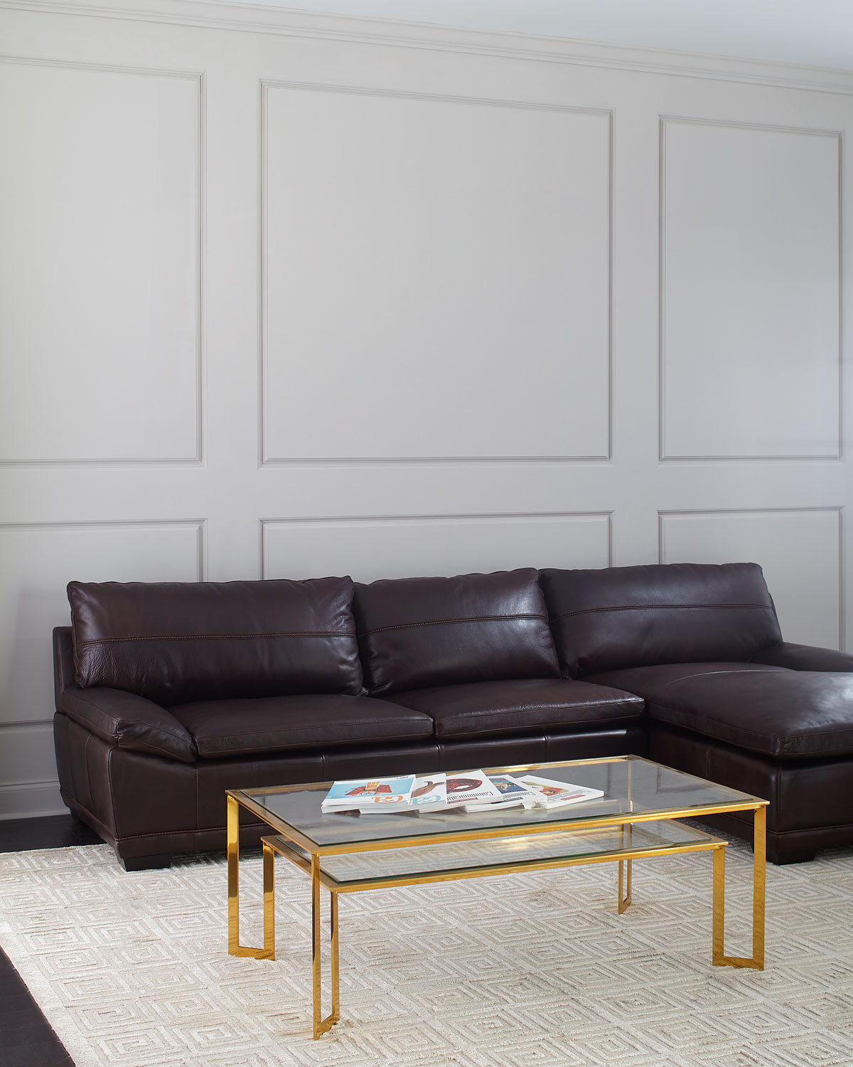Bernhardt Abraham Leather Right Facing Chaise Sectional