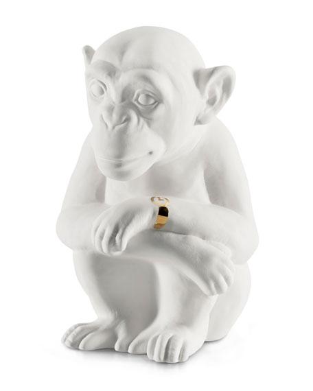Avery Ceramic Chimpanzee Scent Animal, White Gold