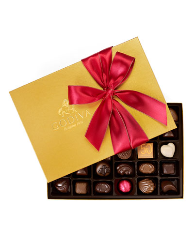 36-Piece Holiday Gold Ballotin Assorted Chocolates Box