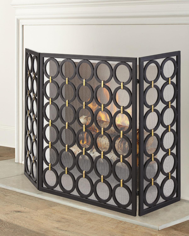 Circle Design 3 Panel Fireplace Screen Neiman Marcus