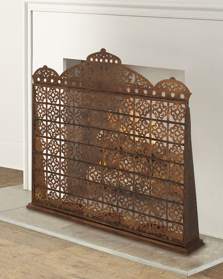 Image 1 of 3: Dr. Livingston Moroccan Fireplace Screen with Hurricanes