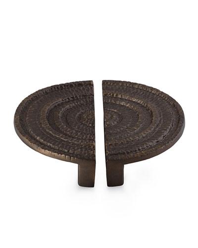 Gotham Half-Round Pull 2-Piece Set, Black Nickel-plate