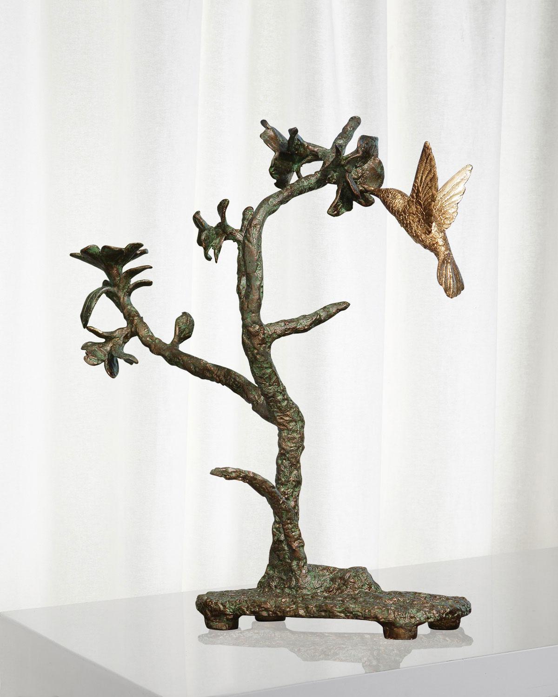 Global Views Metal Sculpture: Global Views Hummingbird Verdi Sculpture
