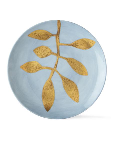 Daphne Lavande Gold-Leaf Dessert Plate, Blue