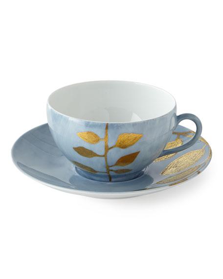 Daphne Lavande Gold-Leaf Breakfast Cup & Saucer, Blue