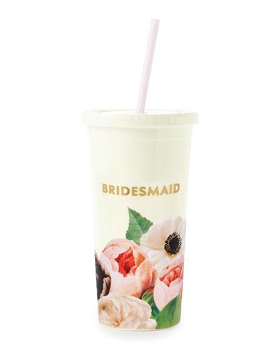 blushing floral bridesmaid insulated tumbler