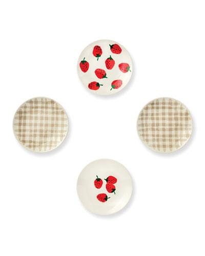 strawberries tidbit plates, set of 4