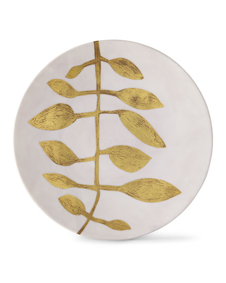 Daphne Camelia Gold-Leaf Buffet Plate, Pink