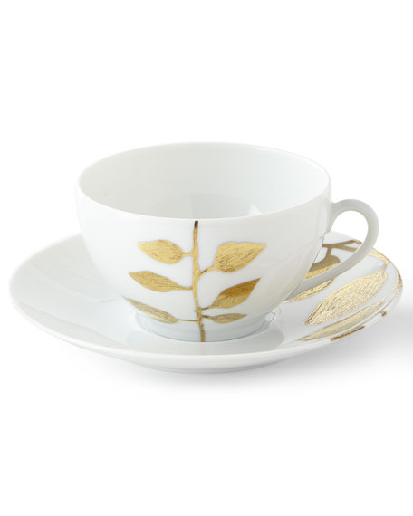 Haviland & Parlon Daphne White Gold-Leaf Breakfast Cup