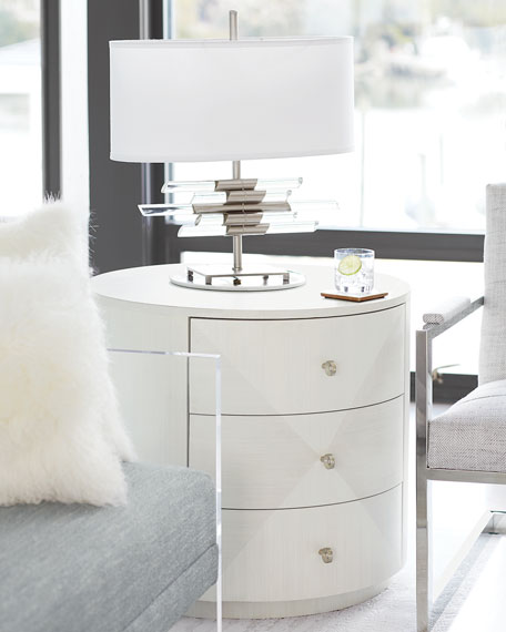 Bernhardt Axiom Round 3-Drawer Side Table