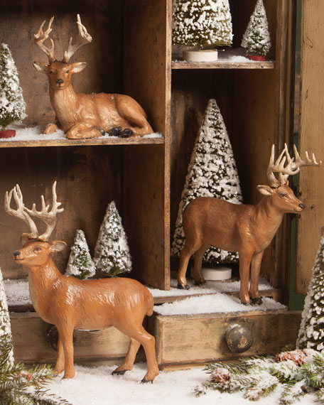 Bethany Lowe Vintage Deer Figurines, Set of 3