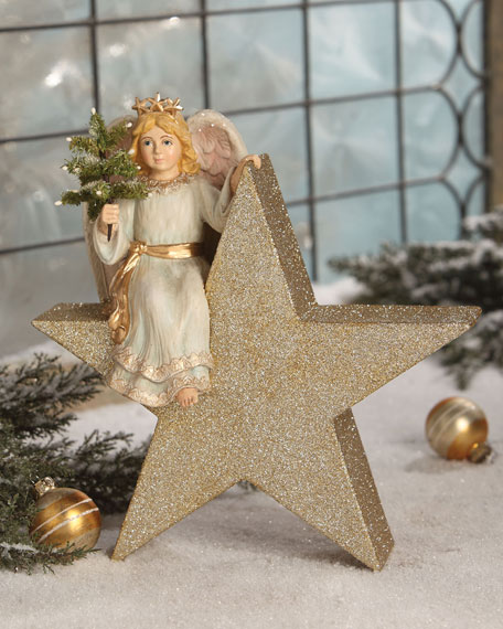 Bethany Lowe Angel on Star Christmas Decor
