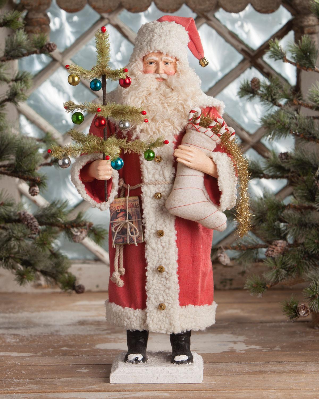 Bethany Lowe Christmas Ornaments.Vintage Style Santa With Stocking Christmas Decoration
