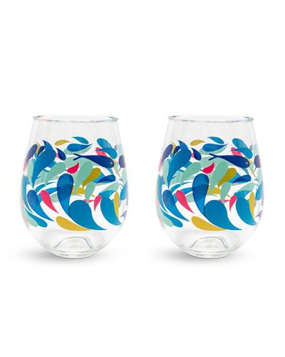 Splash Stemless Wine Glasses, Set of 2