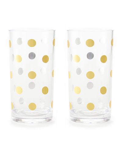 gold dots acrylic highball glasses  set of 2