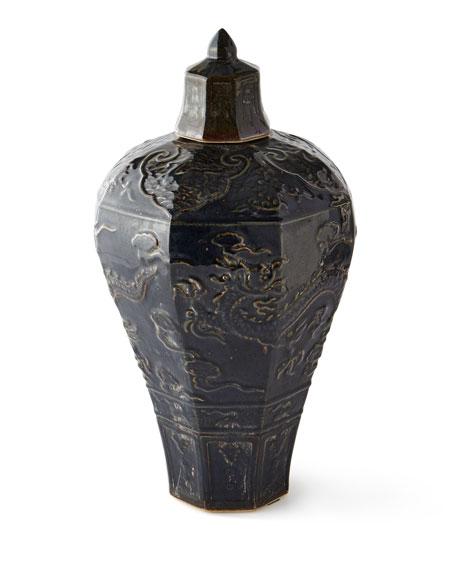 Carved Dragon Plum Vase (Indoor/Outdoor)