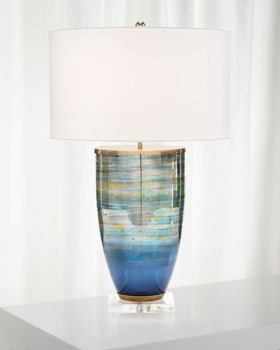 Blue Striated Glass Table Lamp