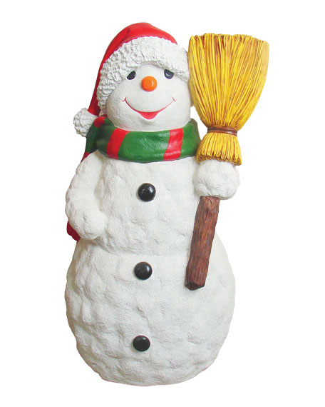Live Form Snowman with Scarf, Hat & Broom Outdoor Christmas Decoration, 48""