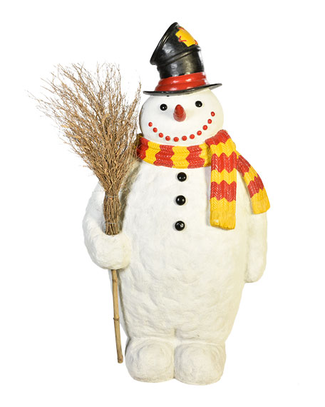 Live Form Snowman with Broom and Top Hat Outdoor Christmas Decoration, 74""
