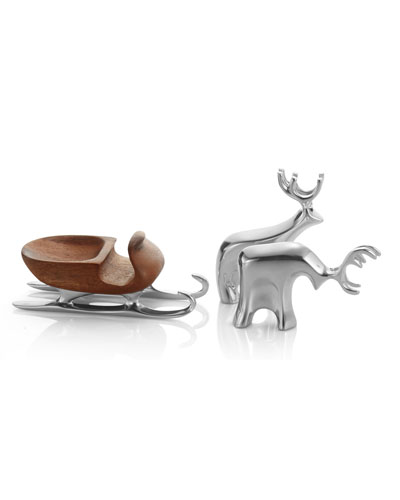 Holiday Miniature Sleigh with Reindeer
