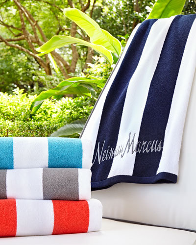 Striped Embroidered Beach Towel