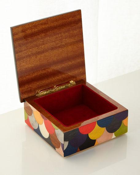 Multicolored Scallop Inlaid Wood Box