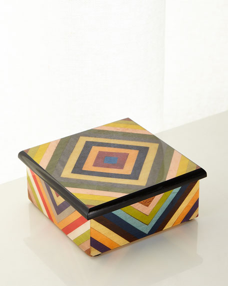 Multicolored Inlaid Wood Box