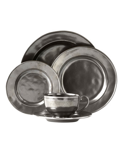 5-Piece Pewter Stoneware Dinnerware Place Setting