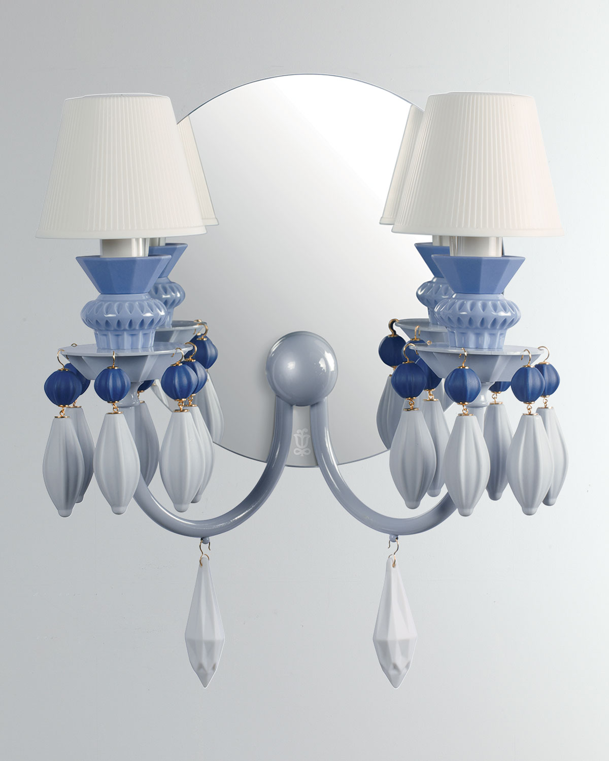 Lladro Belle De Nuit 2 Light Wall Sconce Blue Neiman Marcus