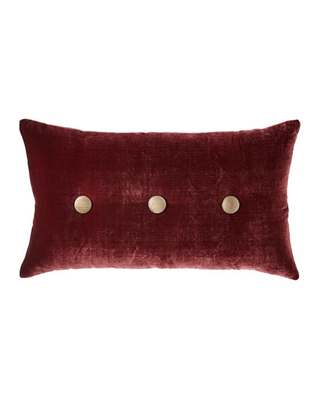 Spencer Velvet Oblong Pillow with Buttons