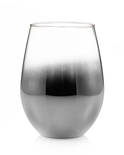 Ombre Silver Stemless Wine Glasses, Set of 4