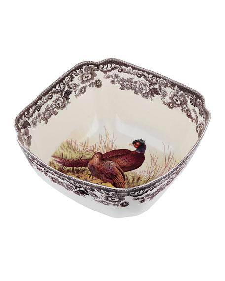 Spode Woodland Pheasant Deep Square Serving Bowl