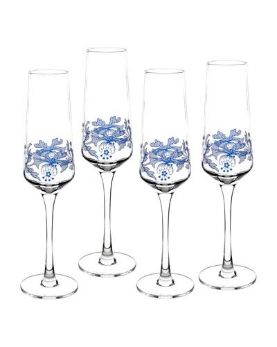 Blue Italian Champagne Flutes, Set of 4