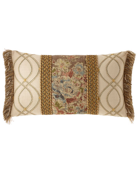 Viburnum Pieced Oblong Pillow with Braid