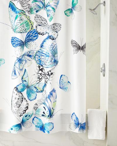 Papillons Cobalt Shower Curtain