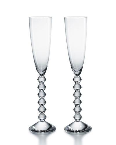 Two Vega Flutissimo Champagne Flutes, Clear