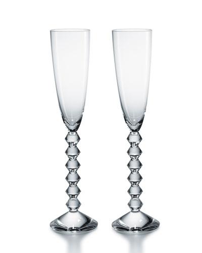 Two Vega Flutissimo Champagne Flutes  Clear