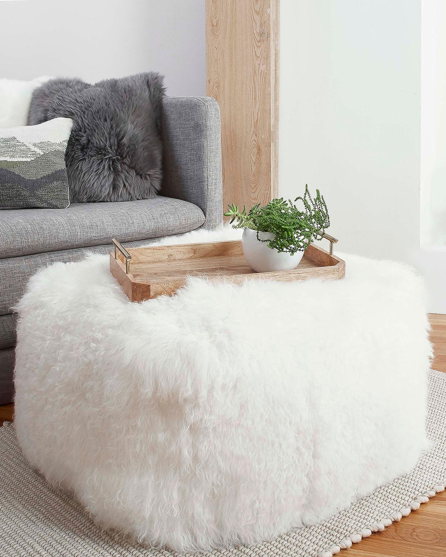 Uggmongolian Fur Pouf Ottoman