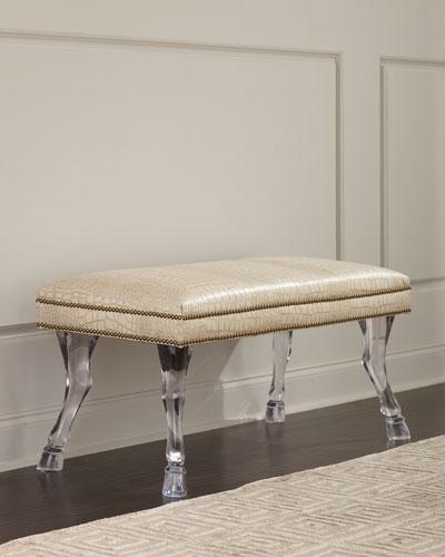 Centaur Croc-Embossed Leather Bench