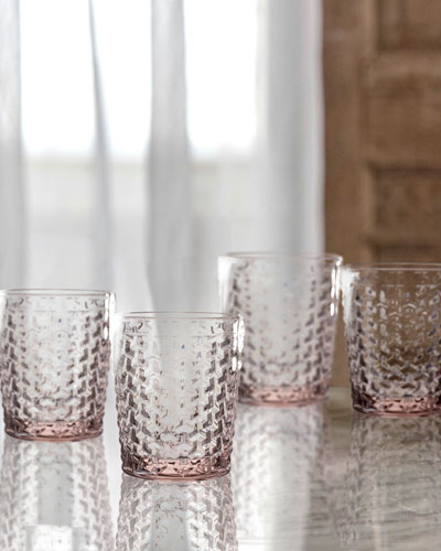 Bistro Weave Pink Double Old-Fashioned Glasses, Set of 4