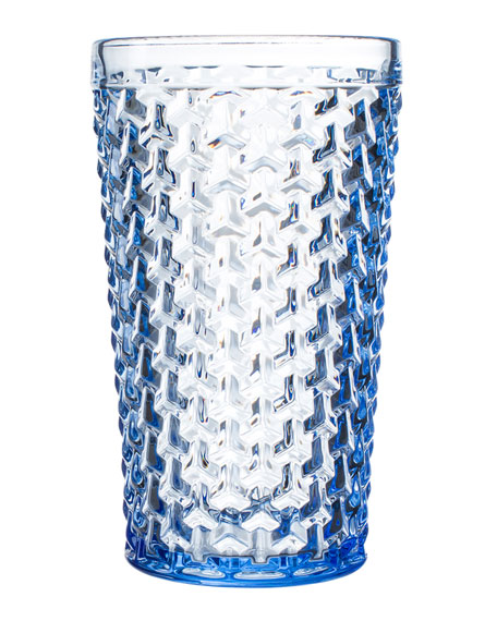 Bistro Weave Blue Highball Glasses, Set of 4