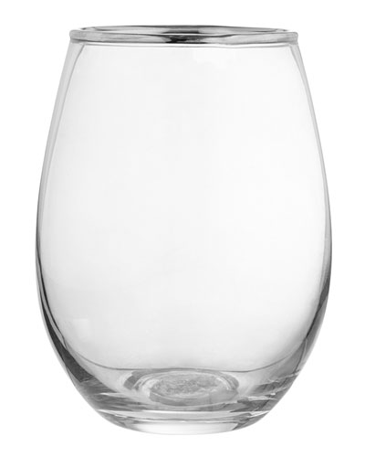Louis Silver Rimmed Stemless Goblets, Set of 4